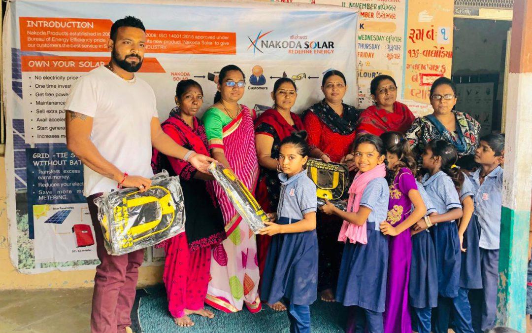 Distributing school bags